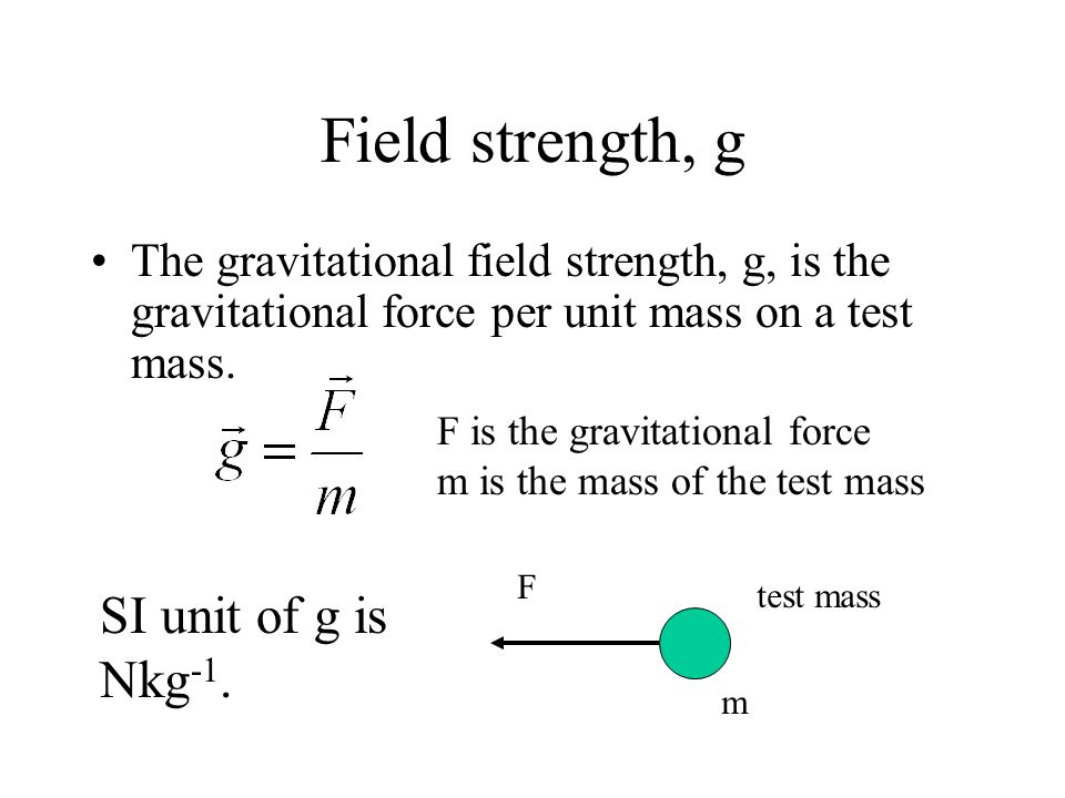 Field strength, g SI unit of g is Nkg-1.
