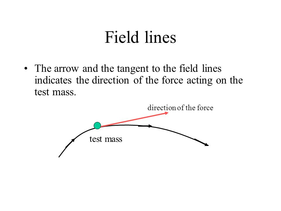 Field lines The arrow and the tangent to the field lines indicates the direction of the force acting on the test mass.