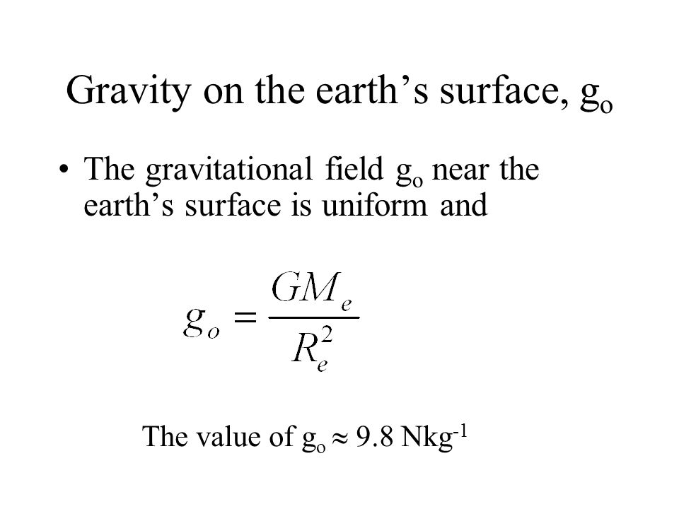 Gravity on the earth's surface, go