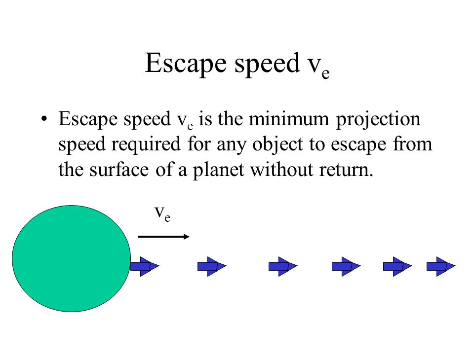 Escape speed ve Escape speed ve is the minimum projection speed required for any object to escape from the surface of a planet without return.