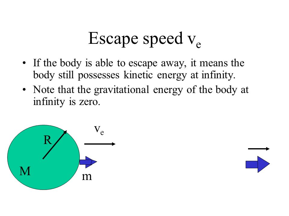 Escape speed ve If the body is able to escape away, it means the body still possesses kinetic energy at infinity.