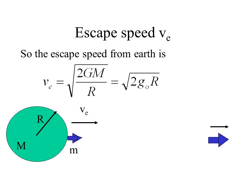 Escape speed ve So the escape speed from earth is ve R m M