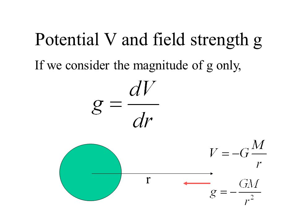Potential V and field strength g