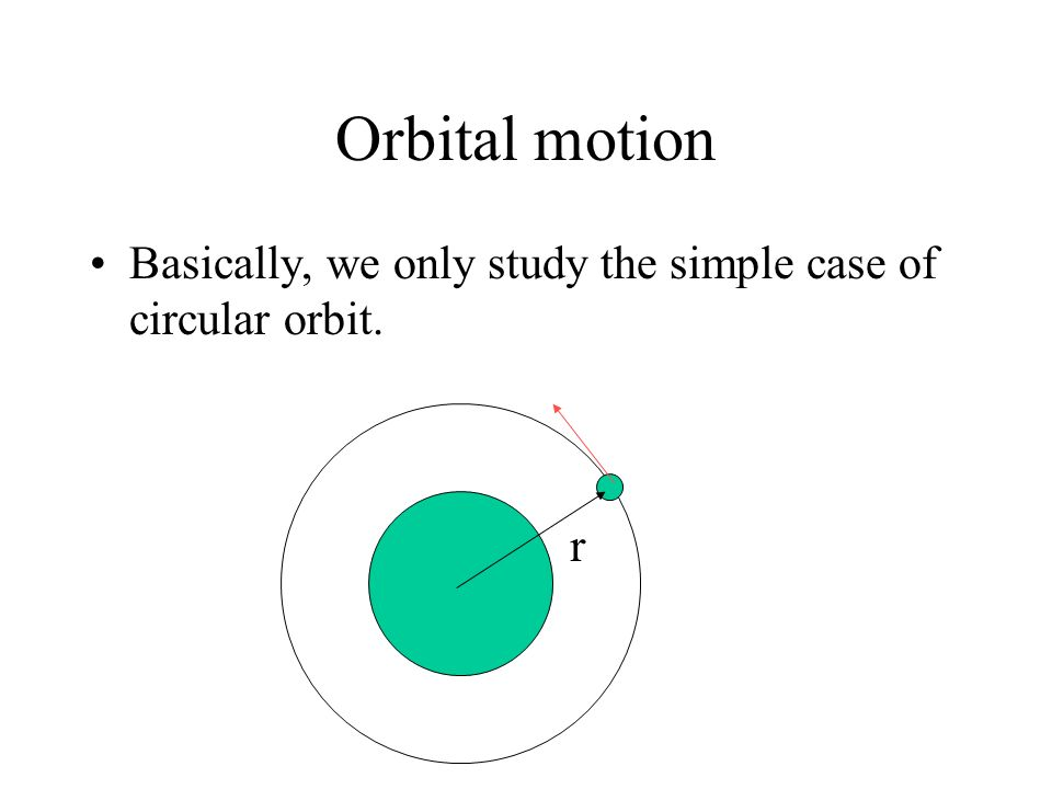Orbital motion Basically, we only study the simple case of circular orbit. r