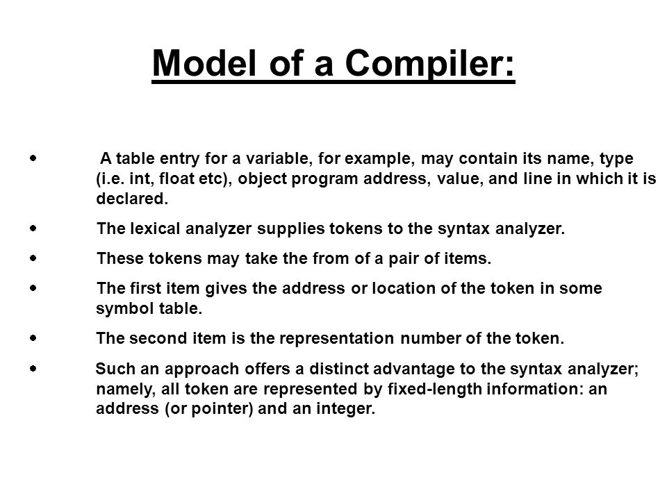 Model of a Compiler:
