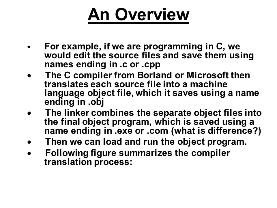 An Overview · For example, if we are programming in C, we would edit the source files and save them using names ending in .c or .cpp.