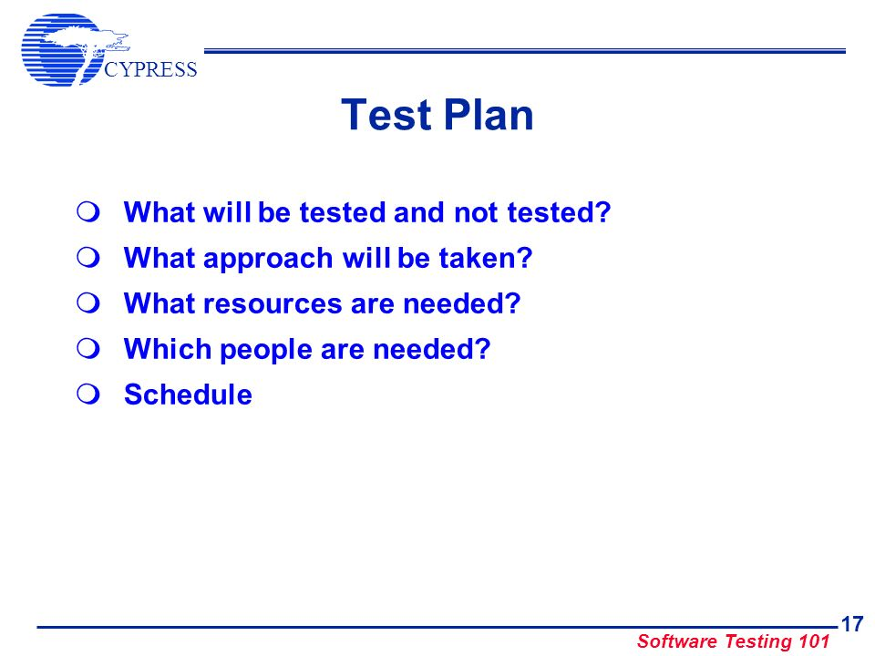 Test Plan What will be tested and not tested