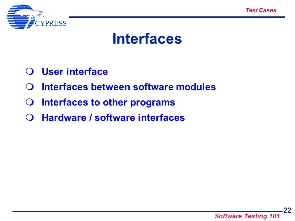 Interfaces User interface Interfaces between software modules
