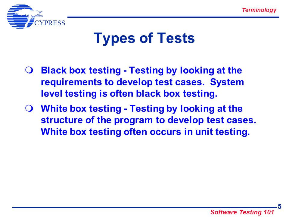 Terminology Types of Tests.
