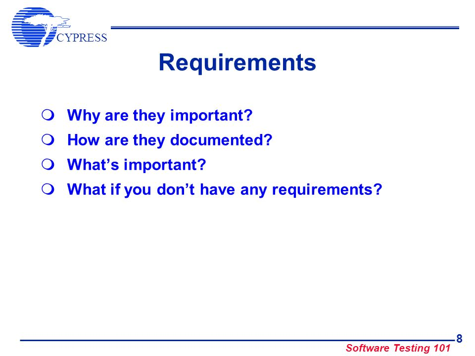 Requirements Why are they important How are they documented