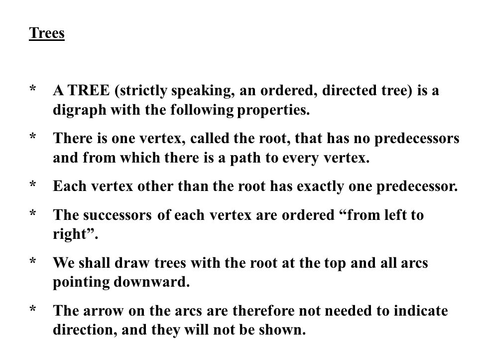 Trees * A TREE (strictly speaking, an ordered, directed tree) is a digraph with the following properties.