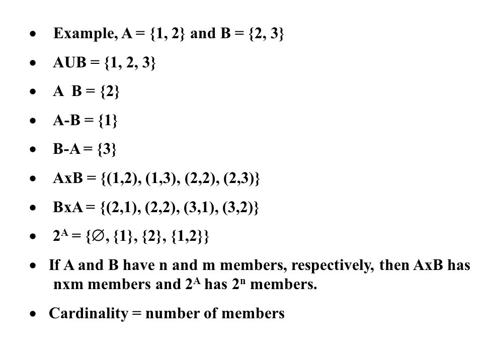 · Example, A = {1, 2} and B = {2, 3} · AUB = {1, 2, 3} · A B = {2} · A-B = {1} · B-A = {3}