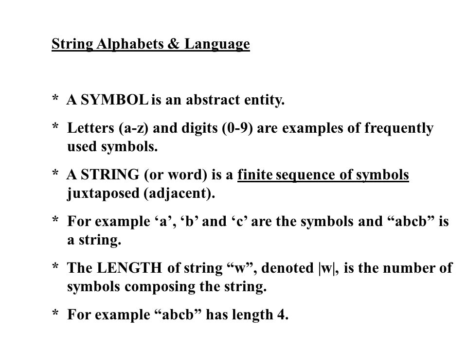 String Alphabets & Language