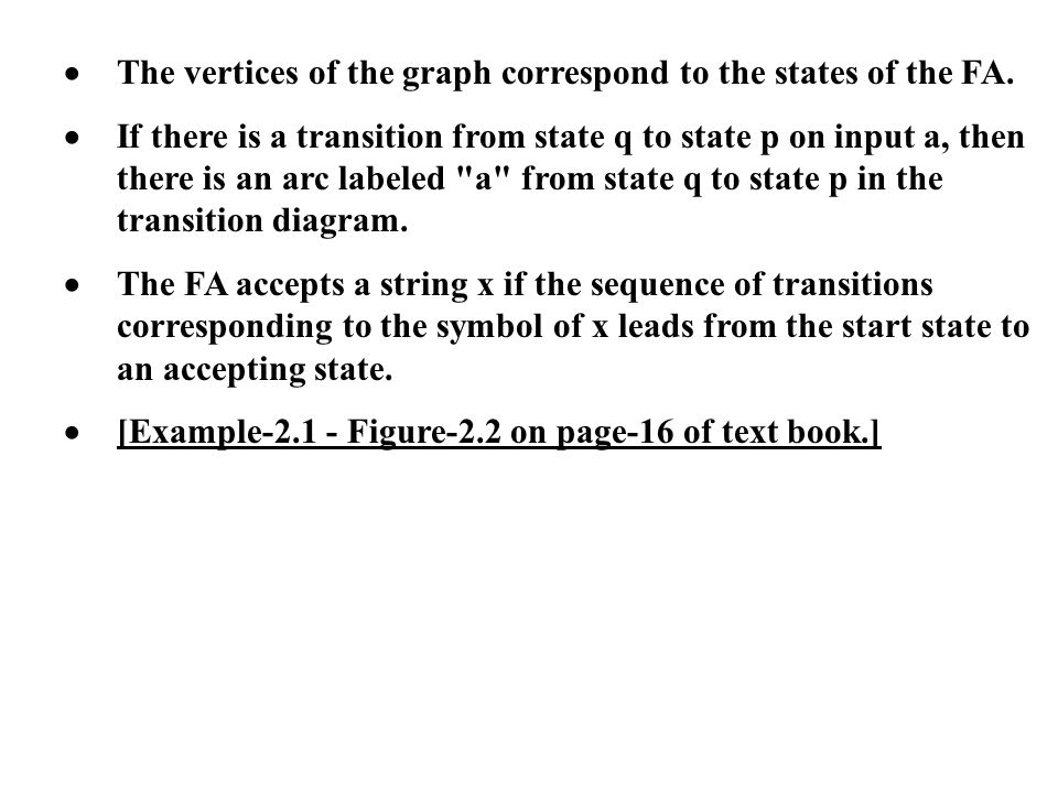 · The vertices of the graph correspond to the states of the FA.