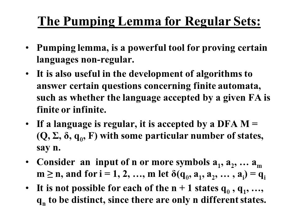 The Pumping Lemma for Regular Sets: