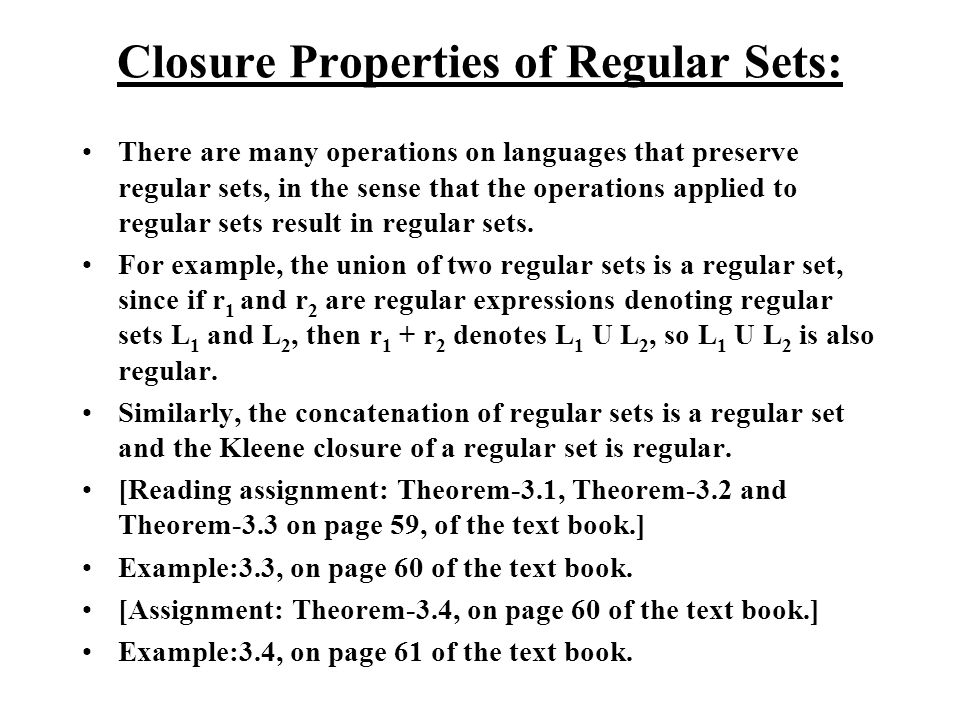 Closure Properties of Regular Sets: