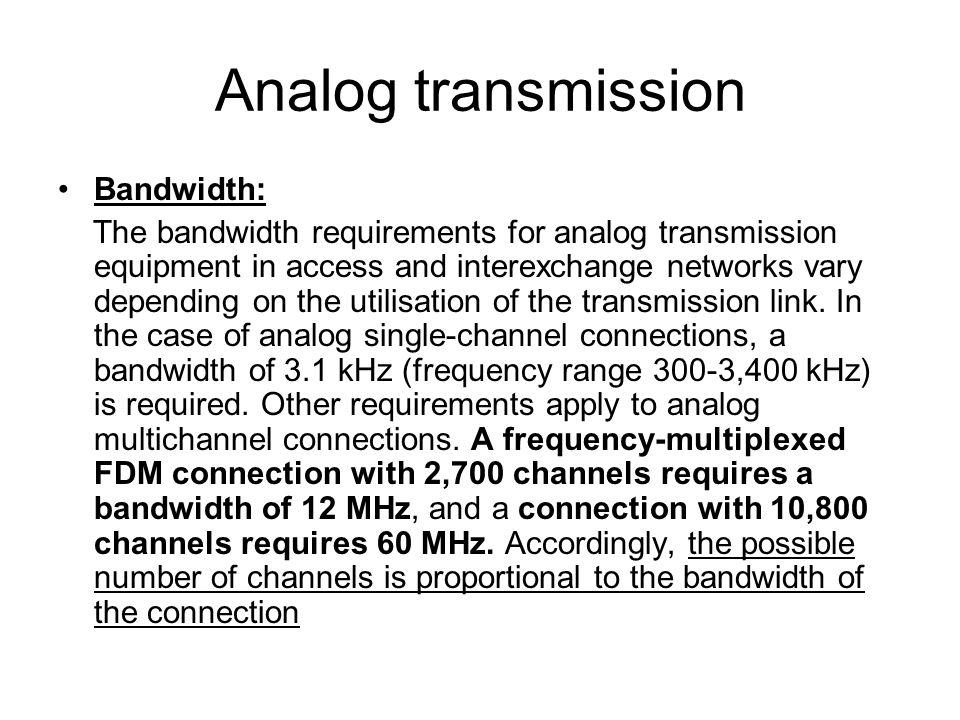 Analog transmission Bandwidth: