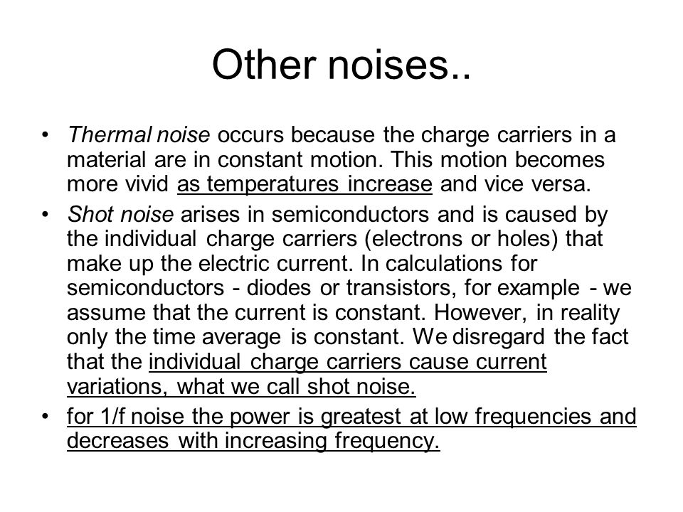 Other noises..