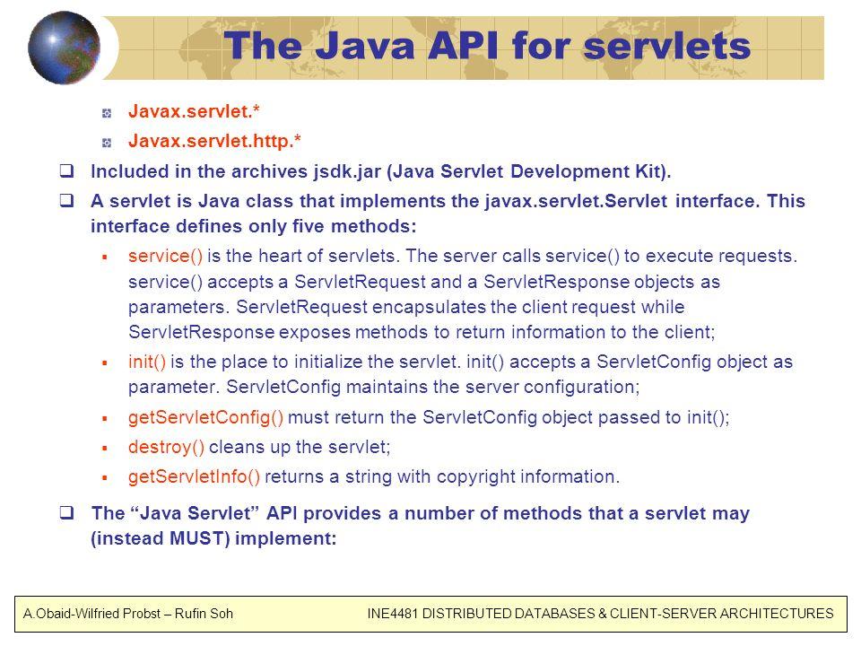 The Java API for servlets