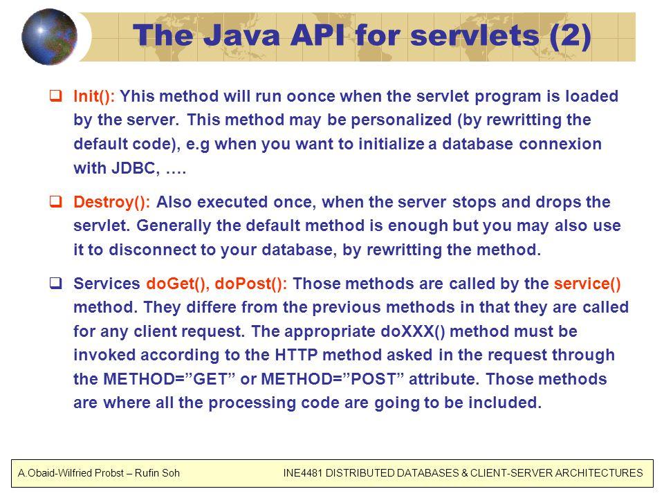 The Java API for servlets (2)