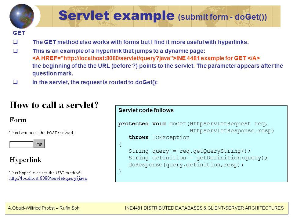 Servlet example (submit form - doGet())