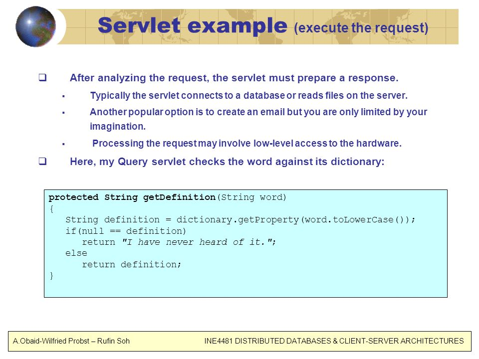 Servlet example (execute the request)