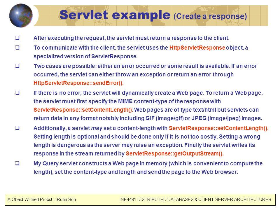 Servlet example (Create a response)