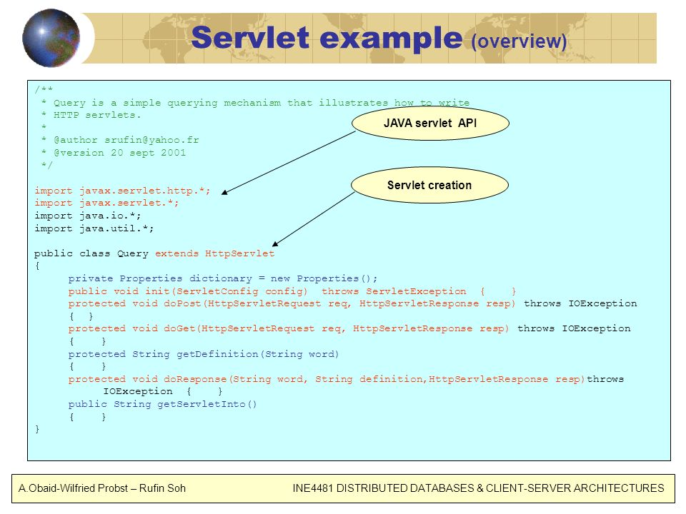 Servlet example (overview)