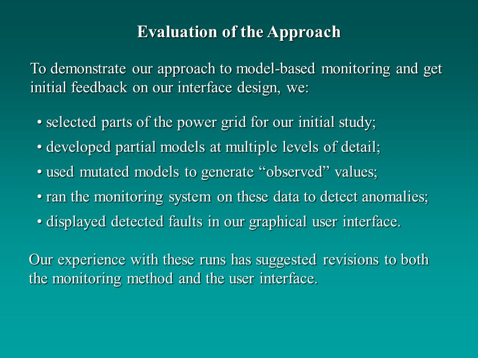 Evaluation of the Approach