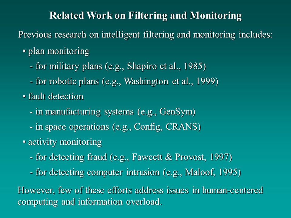 Related Work on Filtering and Monitoring
