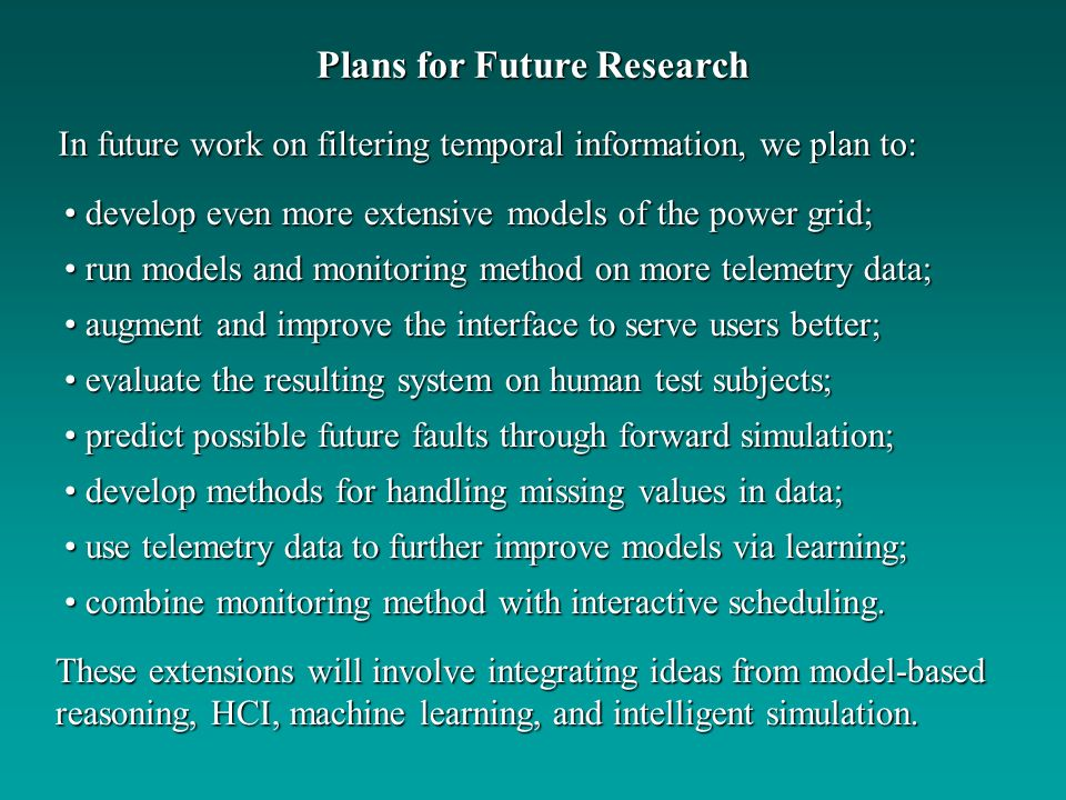 Plans for Future Research