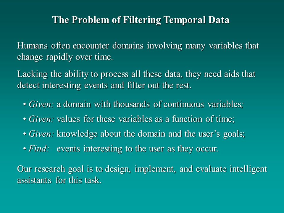 The Problem of Filtering Temporal Data