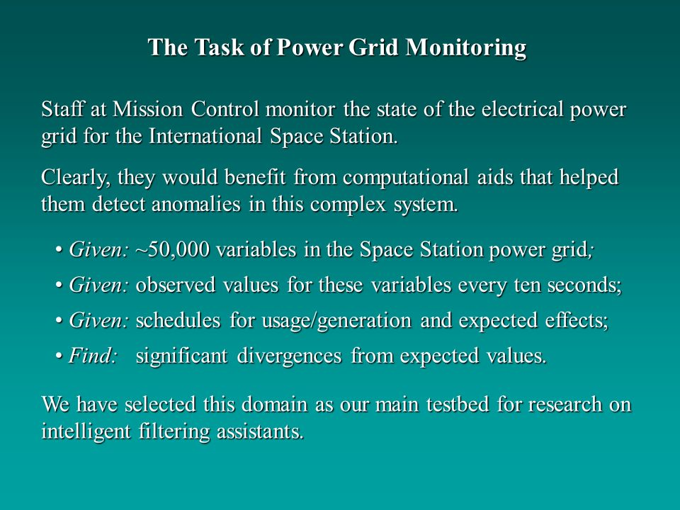 The Task of Power Grid Monitoring