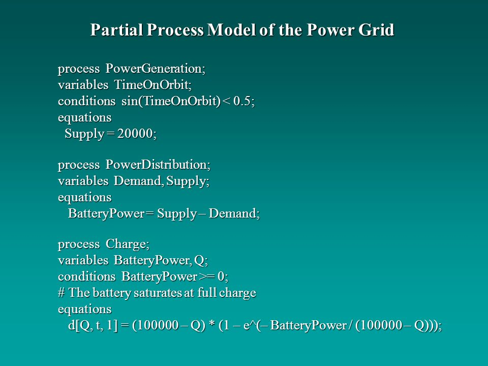 Partial Process Model of the Power Grid
