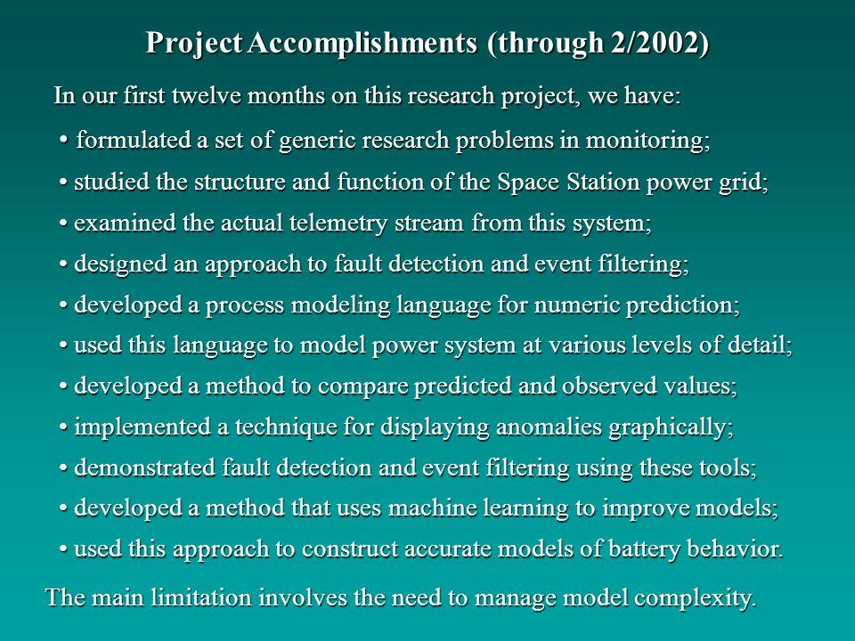 Project Accomplishments (through 2/2002)