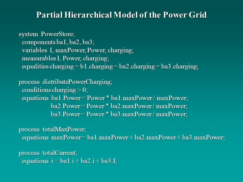 Partial Hierarchical Model of the Power Grid