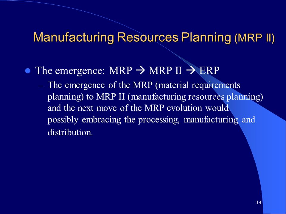 Manufacturing Resources Planning (MRP II)