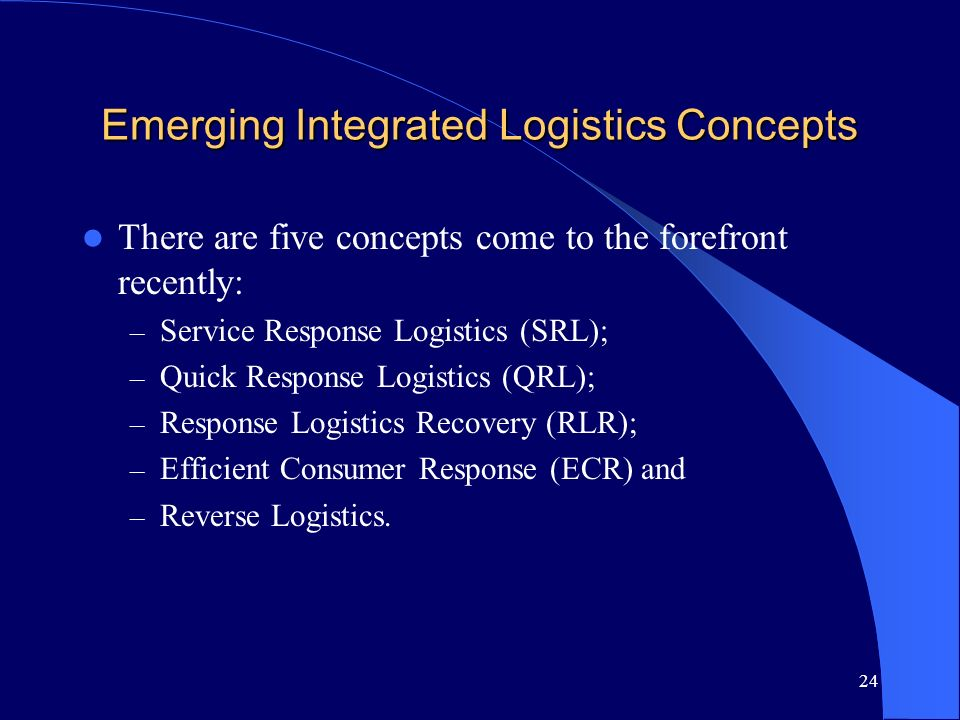 Emerging Integrated Logistics Concepts