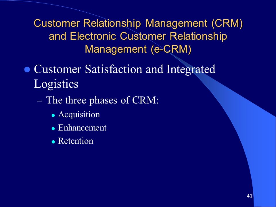 Customer Satisfaction and Integrated Logistics