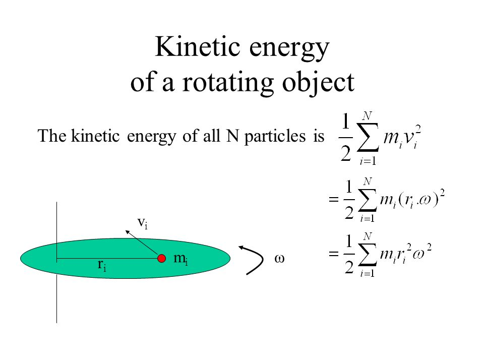 Kinetic energy of a rotating object
