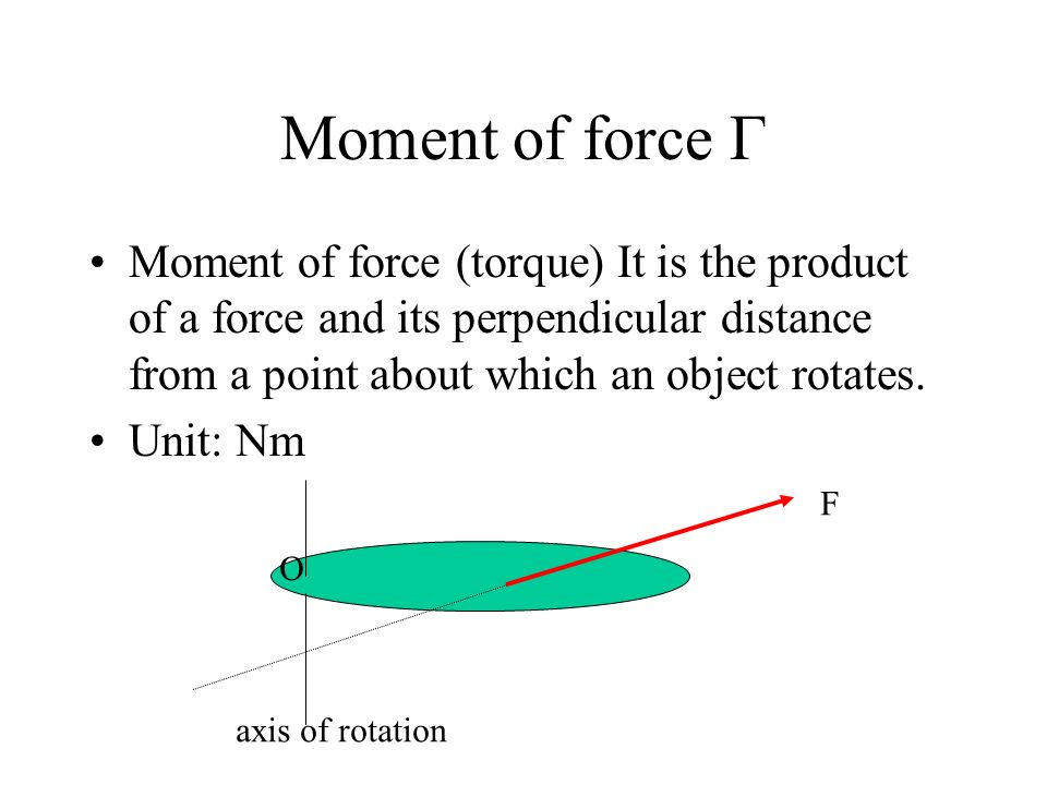 Moment of force Γ Moment of force (torque) It is the product of a force and its perpendicular distance from a point about which an object rotates.