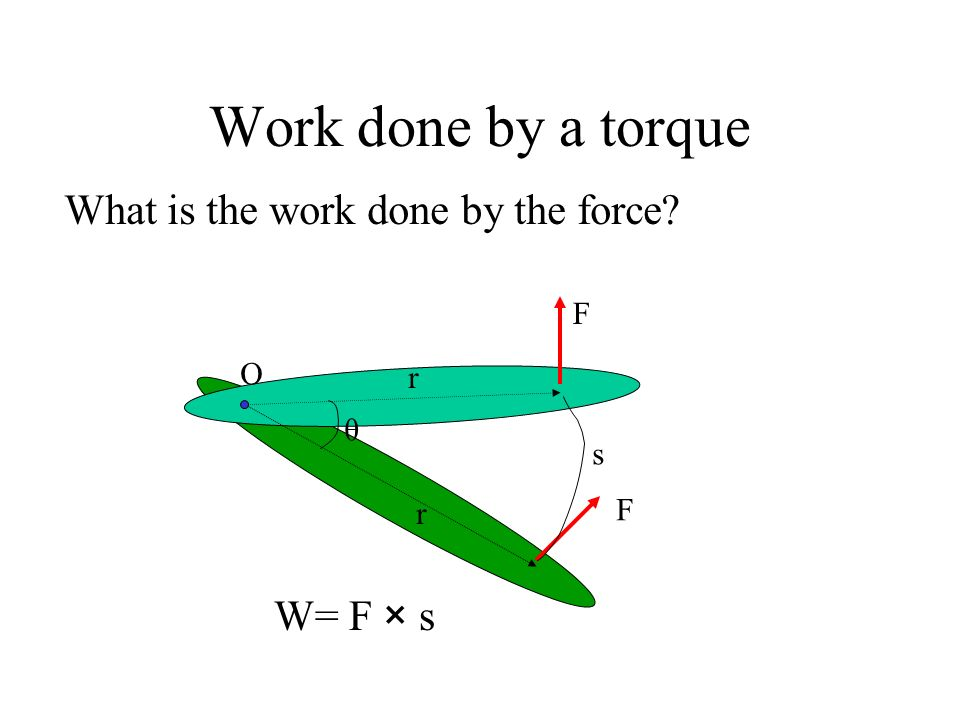 Work done by a torque What is the work done by the force W= F × s F O