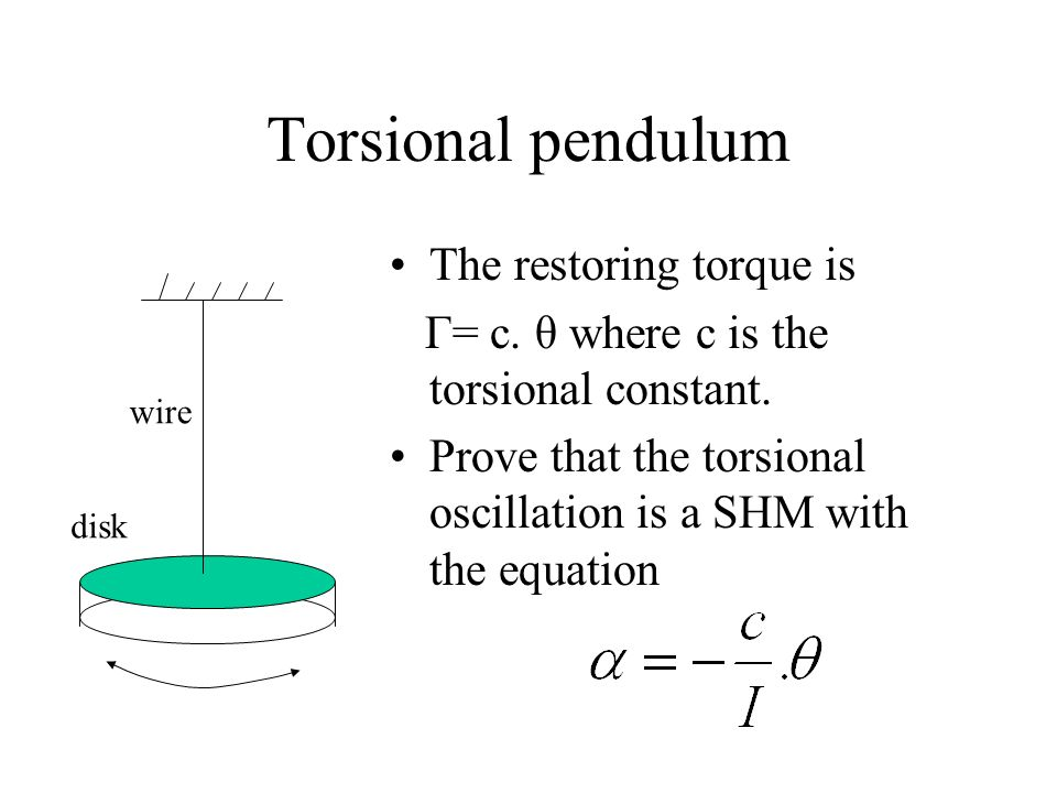 Torsional pendulum The restoring torque is