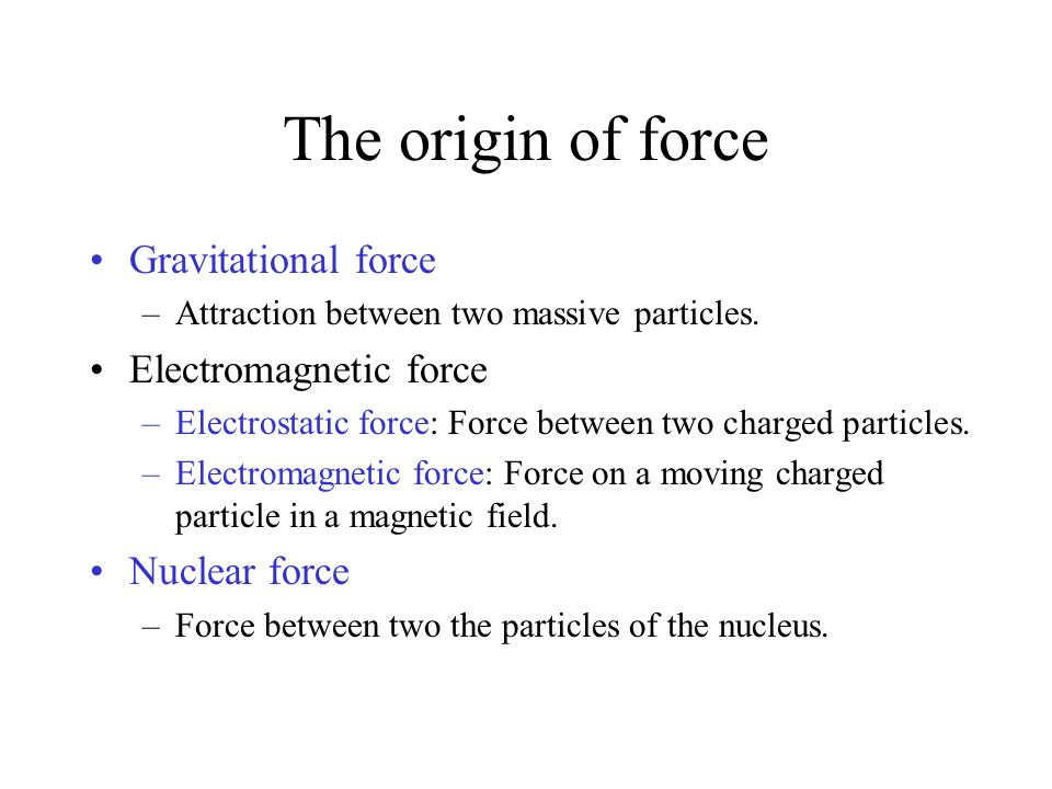 The origin of force Gravitational force Electromagnetic force