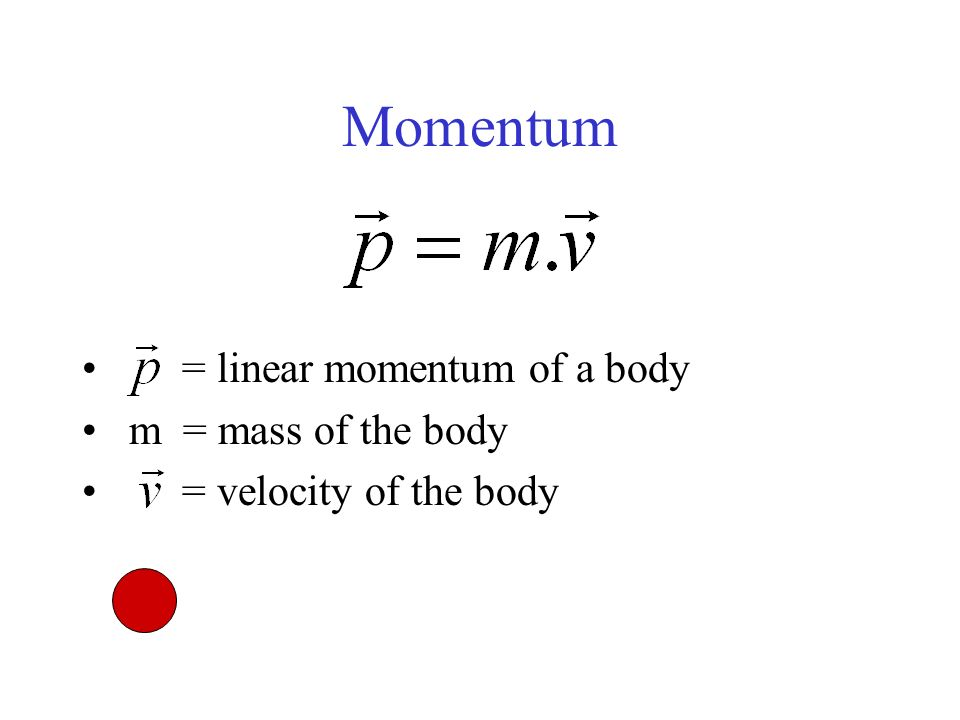 Momentum = linear momentum of a body m = mass of the body