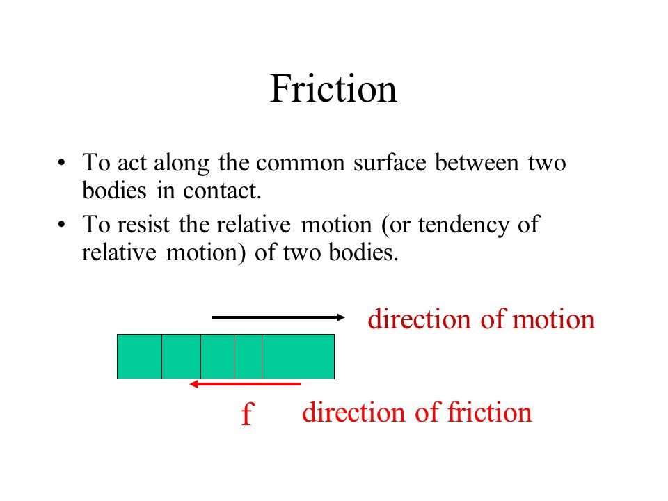 Friction f direction of motion direction of friction