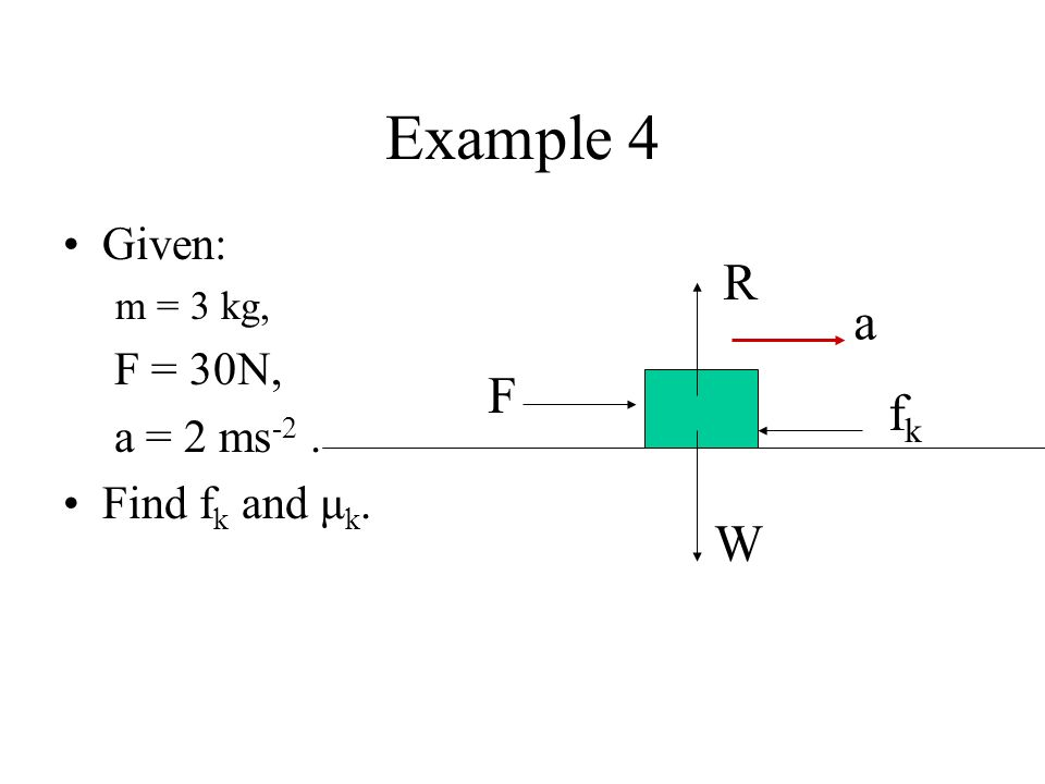 Example 4 R a F fk W Given: F = 30N, a = 2 ms-2 . Find fk and μk.