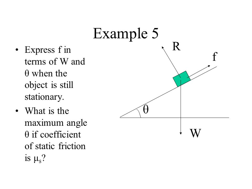 Example 5 W. R. f. θ. Express f in terms of W and θ when the object is still stationary.
