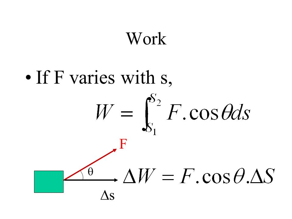 Work If F varies with s,  F s