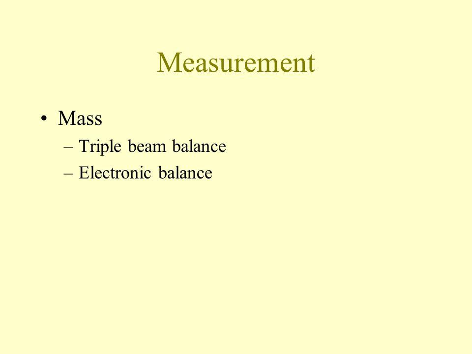 Measurement Mass Triple beam balance Electronic balance